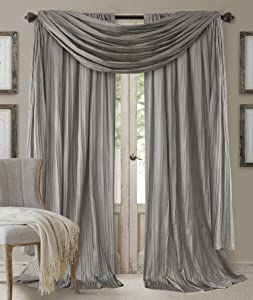 "Elrene Home Fashions 26865855173 Window Curtain Drape Rod Pocket Panel, Set of 3, 52"" x 84"", Sterling, 52""x84"" Each (2 52""x216"" (1 Valance)"