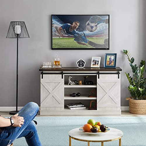 MOOSENG Farmhouse Sliding Barn Door Wood Accommodates up to 60″ Flat-Panel TVs Screen Cabinet Television Stand