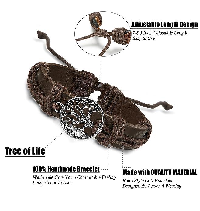 finrezio Mix 6 Wrap pulseras para hombres mujeres cáñamo cuerdas cuentas de madera étnico tribal pulseras pulseras de piel: Amazon.es: Joyería