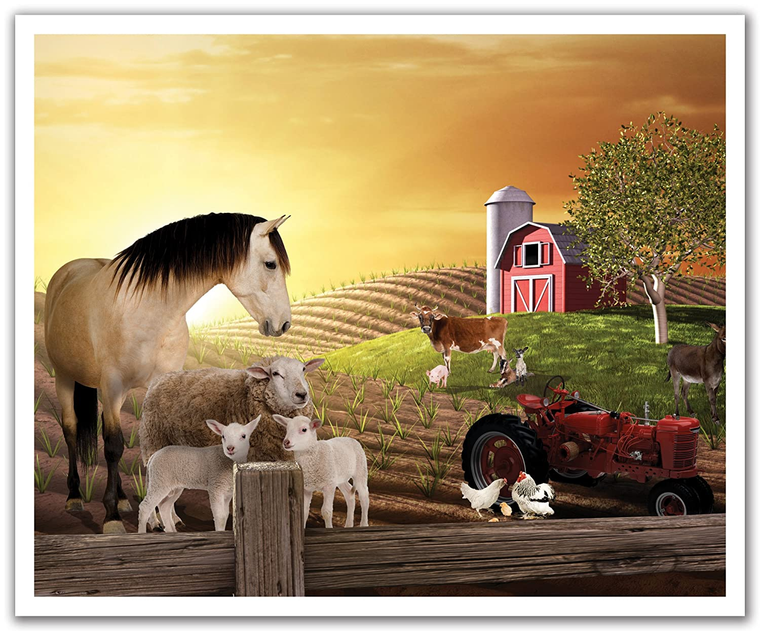 Animal Farm Sepia Horse 24 by 19.75-Inch POS2006 JP London Peel and Stick Removable Wall Decal Sticker Mural
