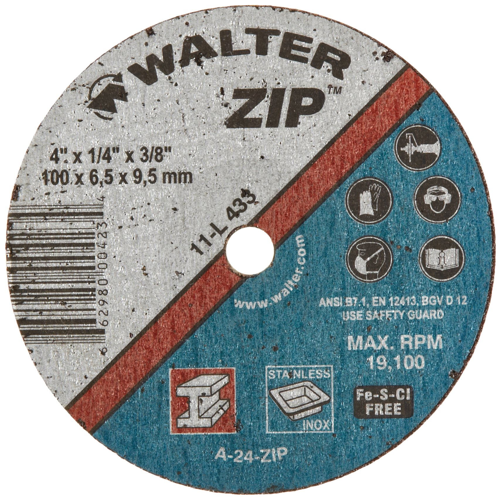 Walter ZIP Performance Cutting and Grinding Cutoff Wheel, Type 1, Round Hole, Aluminum Oxide, 4'' Diameter, 1/4'' Thick, 3/8'' Arbor, Grit A-24-ZIP (Pack of 25)