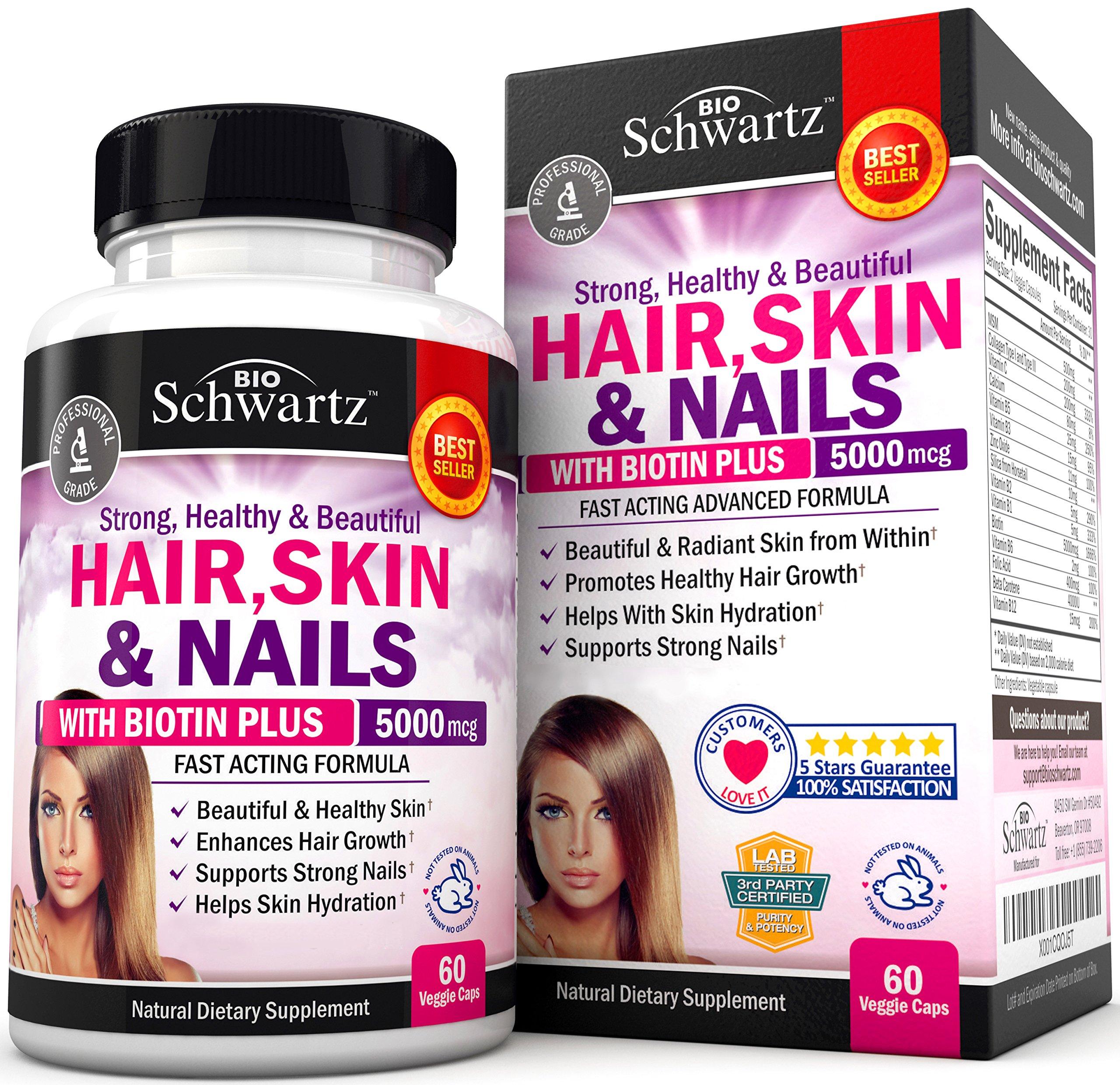 Hair Skin and Nails Vitamin with Biotin 5000. Promotes Hair Growth Glowing Skin Strong Nails. Natural & Non-GMO. Good as Phytoceramides 350 mg Anti-Aging Skin Care. Made in USA Money Back Guarantee