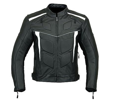 LJ-4012 - Chaqueta de motocicleta para hombre, piel, con armazón, alta protección, color negro y blanco