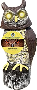 Owlery Solar Owl with Flashing Eyes, Spinning Head and Realistic Tweets, Plastic Owl Decoration for Home, Garden, Patio and Fence
