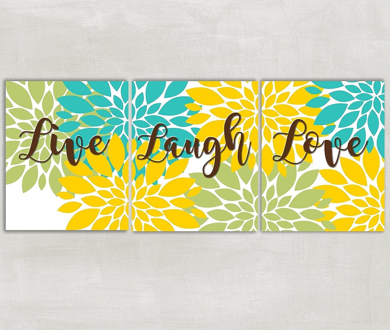 Amazon.com: Live Laugh Love wall art Floral burst home decor Flowers ...