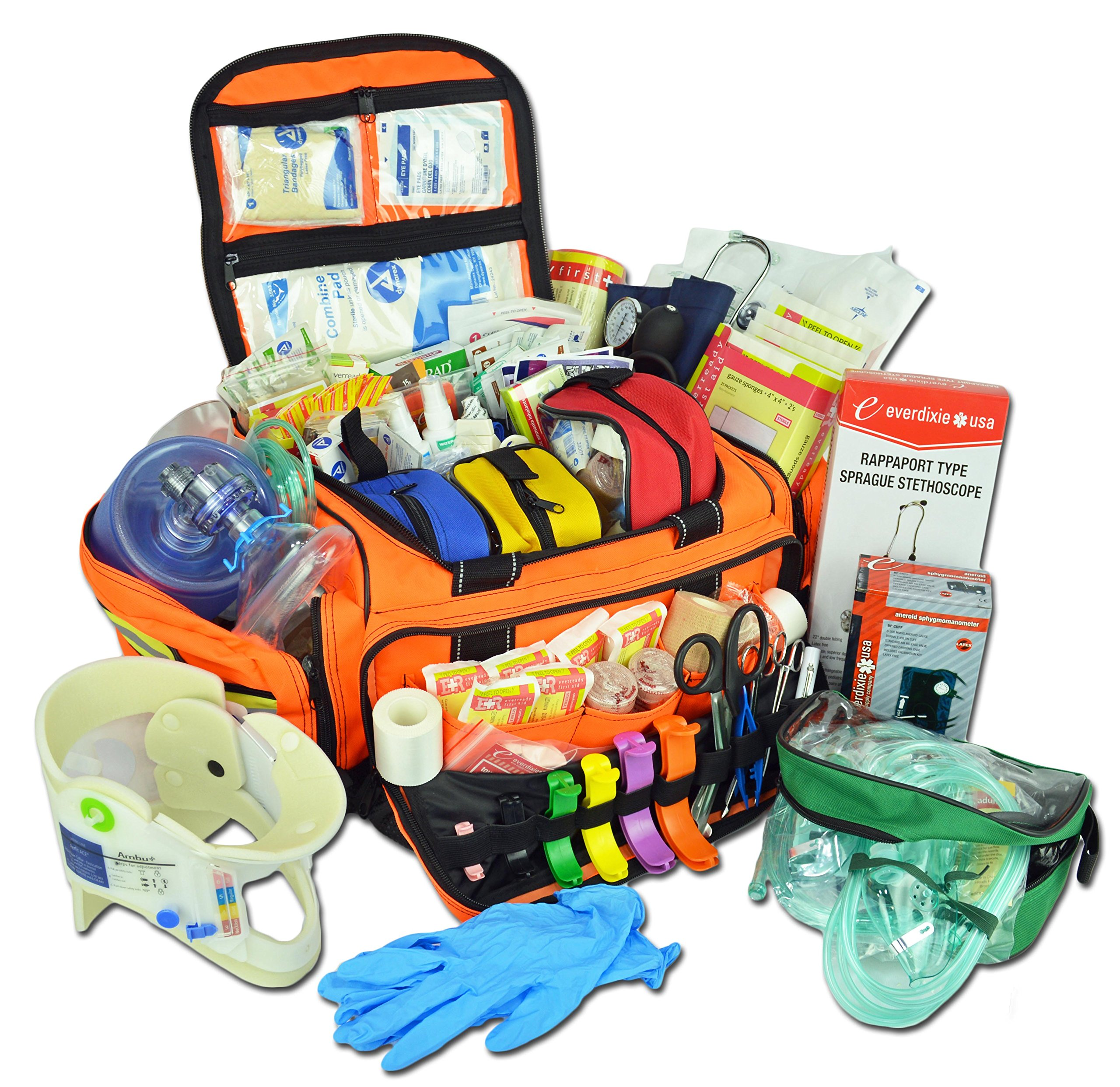 Lightning X Extra Large Medic First Responder EMT Trauma Bag Stocked First Aid Deluxe Fill Kit C (Orange) by Lightning X Products
