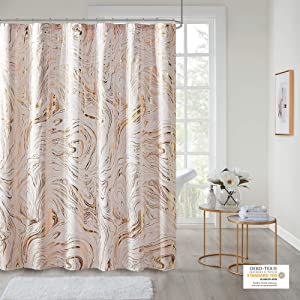 "Intelligent Design Rebecca Fabric Shower Curtain Metallic Marble Design Machine Washable Modern Home Bathroom Decor, Bathtub Privacy Screen, 72"" x 72"", Blush/Gold"