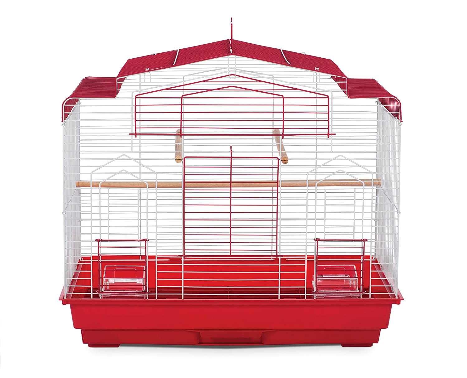 Red white Prevue Pet Products SP50051 Barn Style Bird Cage, Brown White