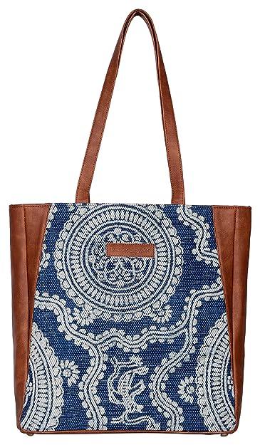 Kalamargam Women s Handwoven Kilim and Vegan Leather Tote Bag  (Multicolour)  Amazon.in  Shoes   Handbags 110258b5656bd