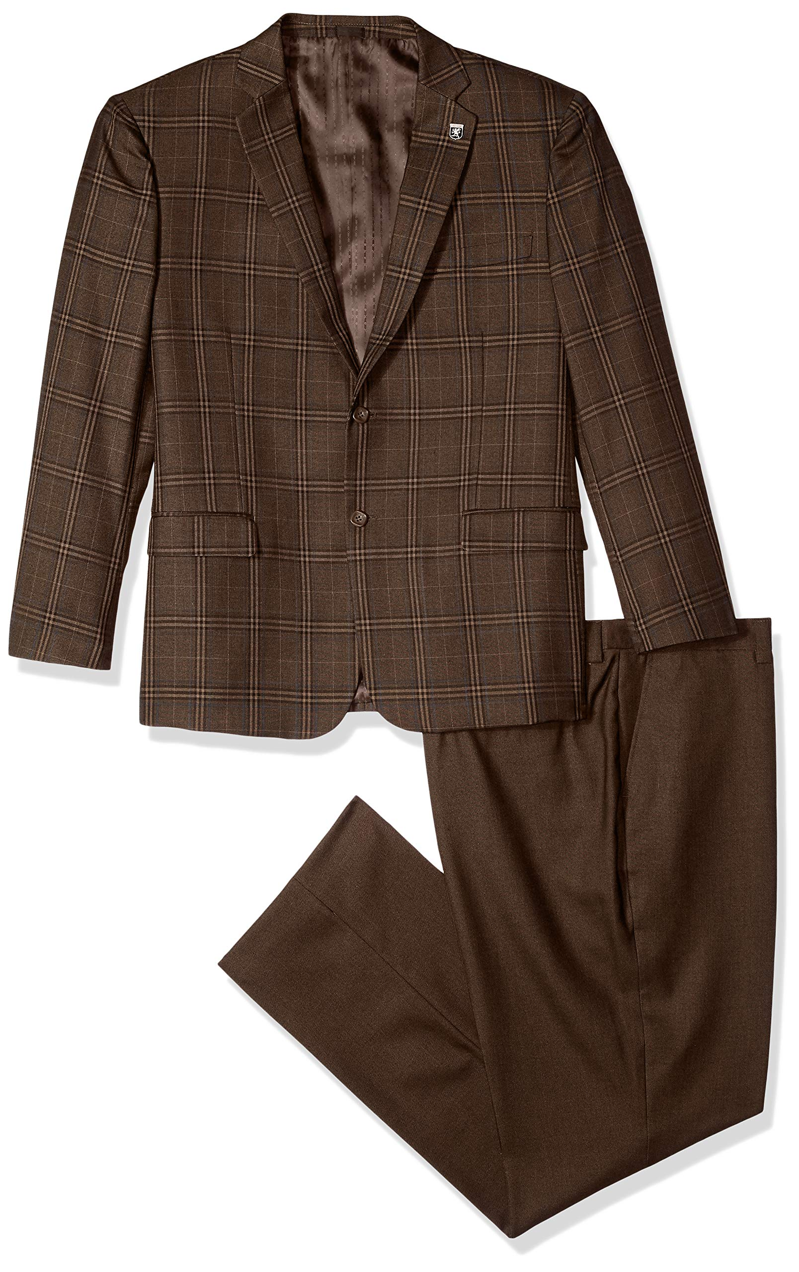 STACY ADAMS Men's Big and Tall 4-Piece Notch Lapel Plaid Vested Suit with 2 Pants, Brown/tan, 52 Regular