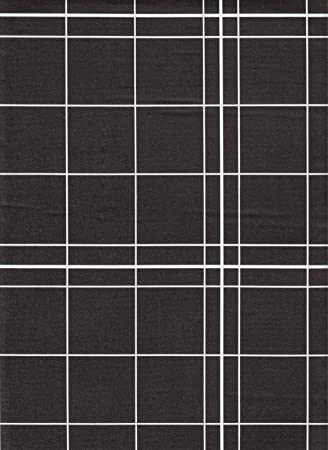 White Lines Flannelback Vinyl Tablecloth In Black, 70 Inch Round