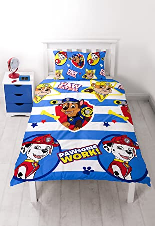 Paw Patrol Pawsome Single Duvet Set - Repeat Print Design: Amazon ...