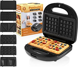 Chefore 6 in 1 Panini Press Grill - Indoor Sandwich Grill - Portable Panini Press - Easy Store Mini Sandwich Makers - 6 Mold Plates Panini Grill