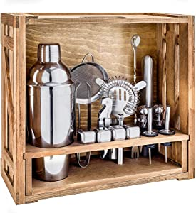 18 Piece Cocktail Shaker Set with Rustic Pine Stand,Stainless Steel Bartender Kit Bar Tools Set for Christmas Gift,Home, Bars, Parties and Traveling