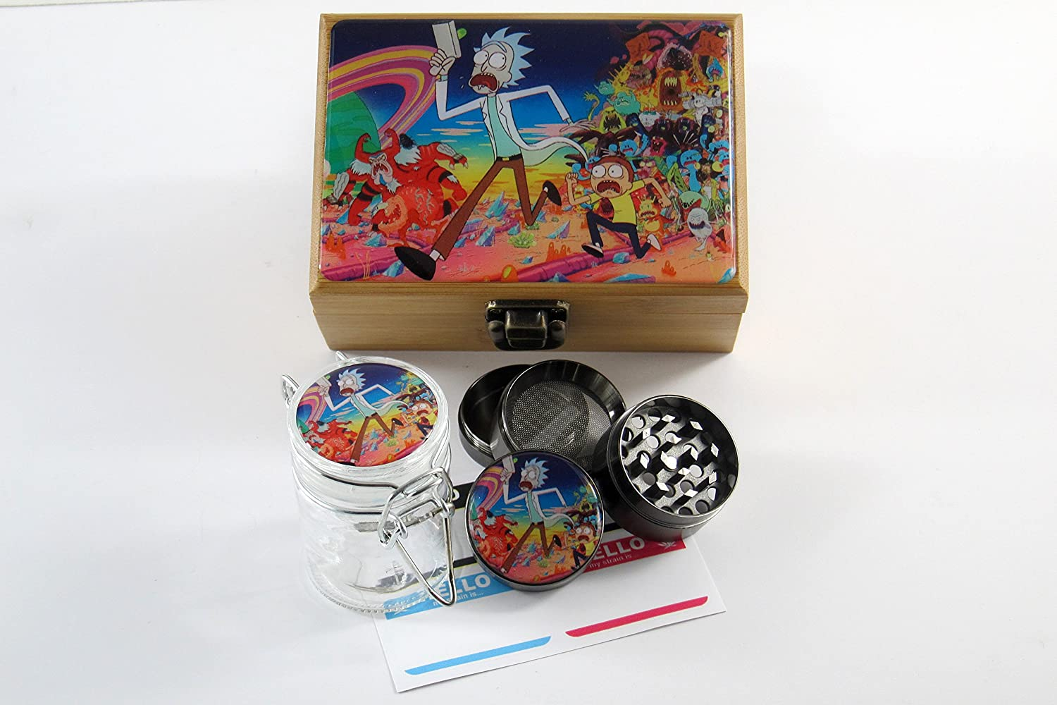 Rick and Morty Herb Stash Box Combo - 2 inch Grinder, 2.5 inch Glass Jar & Labels (Universe)