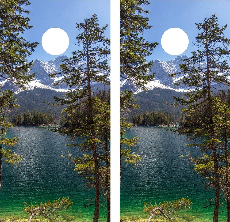 Cornhole Wrap Decal Mountain Lake Laminated Includes 2 Decals avgrafx