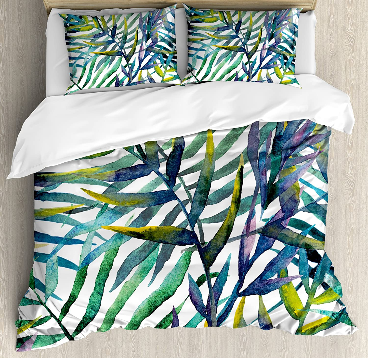 Leaf Duvet Cover Set Queen Size by Ambesonne, Watercolor Artwork of Tropical Island Vegetation Colorful Palm Leaves