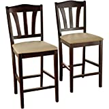 Target Marketing Systems Lucca Collection Contemporary Style High Top Barstool, Set of 2, Espresso, 24""
