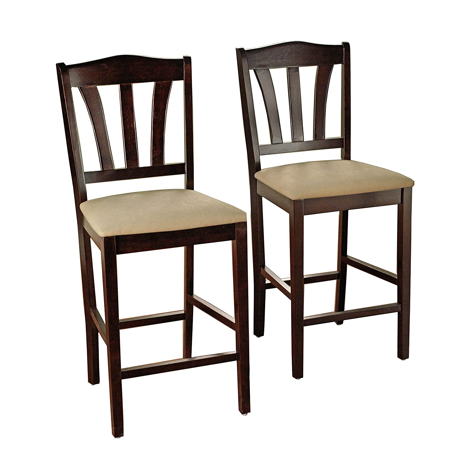 """Target Marketing Systems Lucca Collection Contemporary Style High Top Barstool, Set of 2, Espresso, 24"""""""