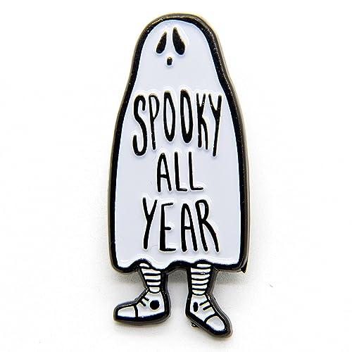 Amazon.com: Ectogasm Black and White Halloween Horror Enamel Pin ...