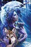 Moonlight Brethren Wolf Moon Fantasy Art PAPER POSTER measures 36 x 24 inches (91.5 x 61cm)