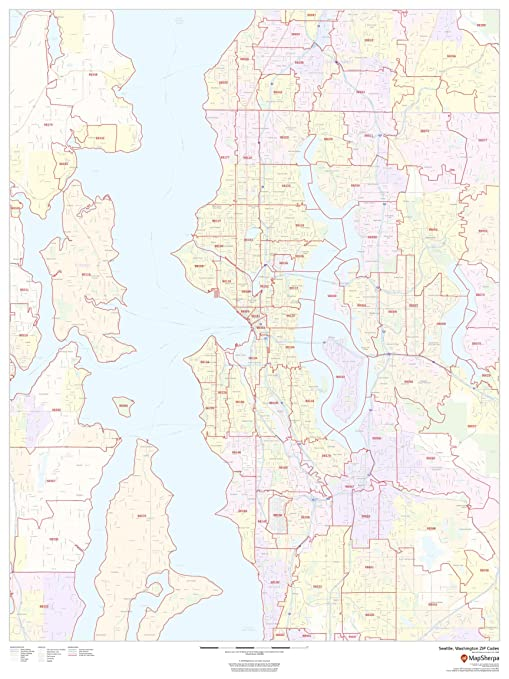 Amazon Com Seattle Washington Zip Codes 36 X 48 Paper Wall