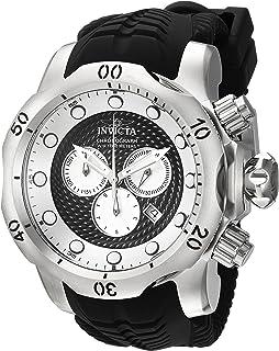 Invicta Mens Venom Quartz Stainless Steel and Silicone Casual Watch, Color:Black