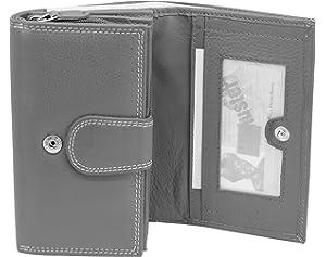 c838110fec9dc XXL Graue Damen Geldbörse Leder Lang mit viele Kreditkarten (Beidseitig  bedienbar) Fächer Frauen Portemonnaie