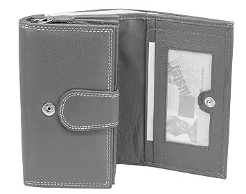 Damen Portemonnaie Brieftasche viele Fächer Geldbörse echtes Lack-Leder Neu Grau