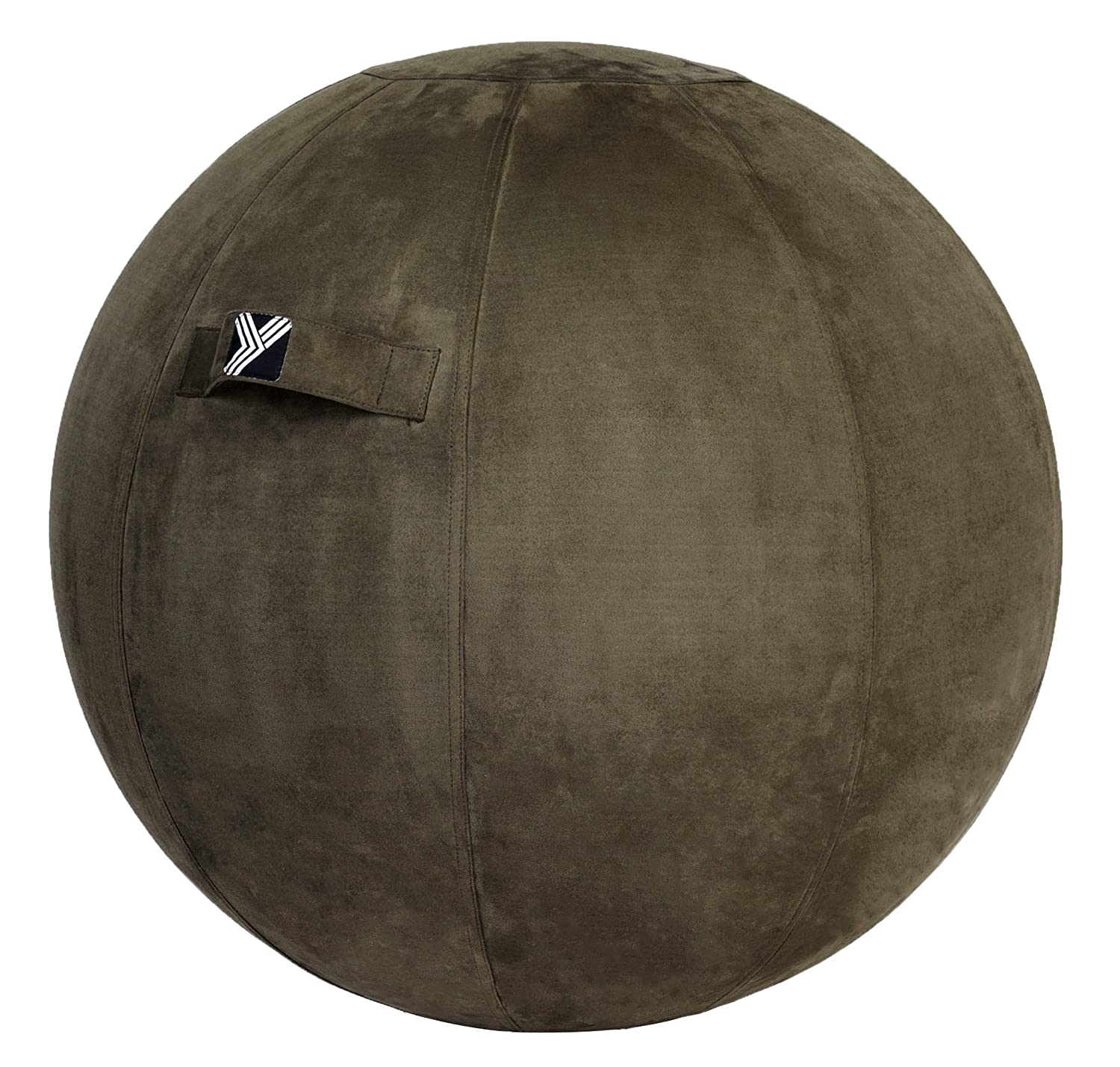 Yogivo - Exercise Ball Chair for Home, Office, Yoga, Stability, Fitness and Balance Training, Sitting Ball with Pump and Handle (Suede Series - Brown) LTD