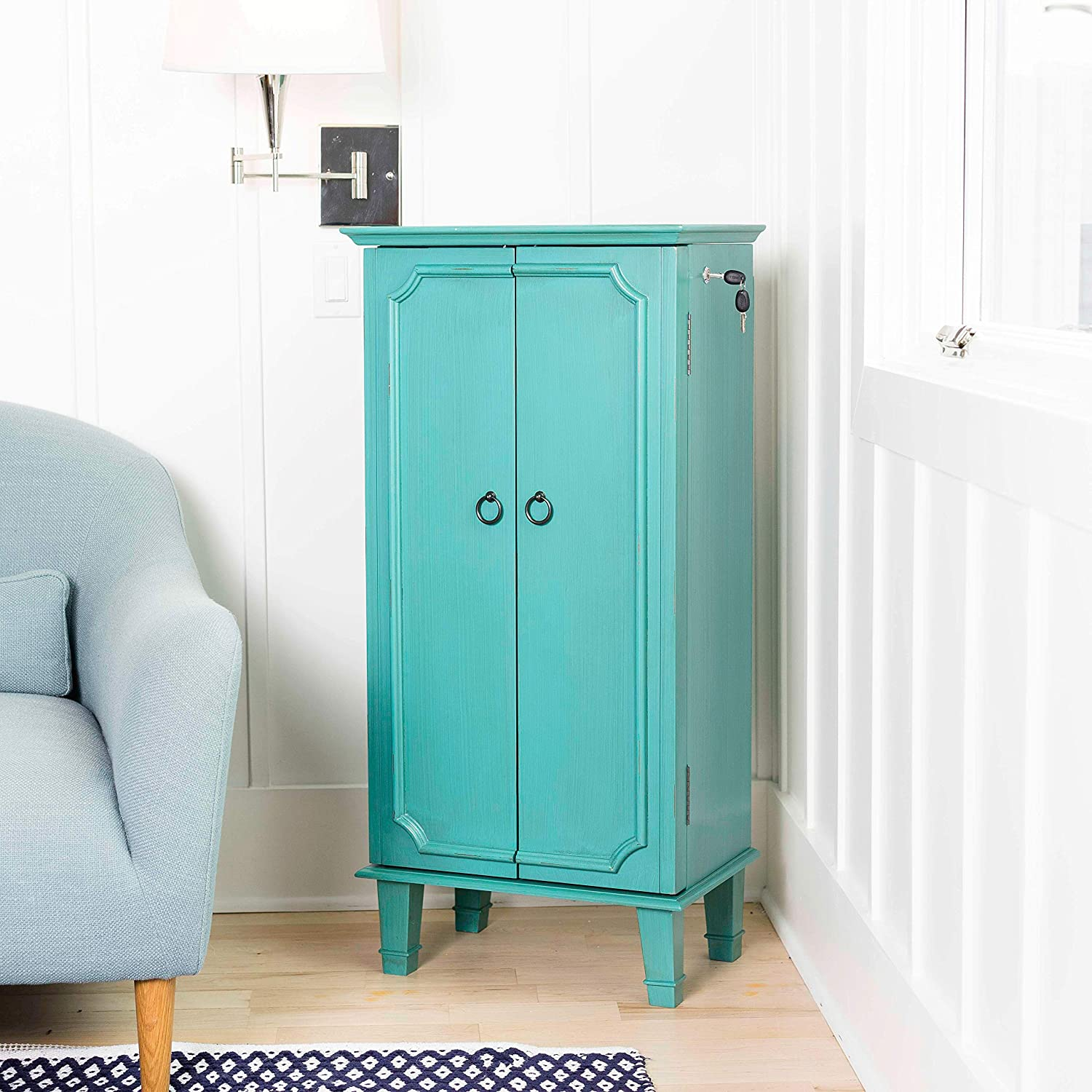 Large Turquoise Hives and Honey 9006-349 Carson Fully Locking Jewelry Armoire