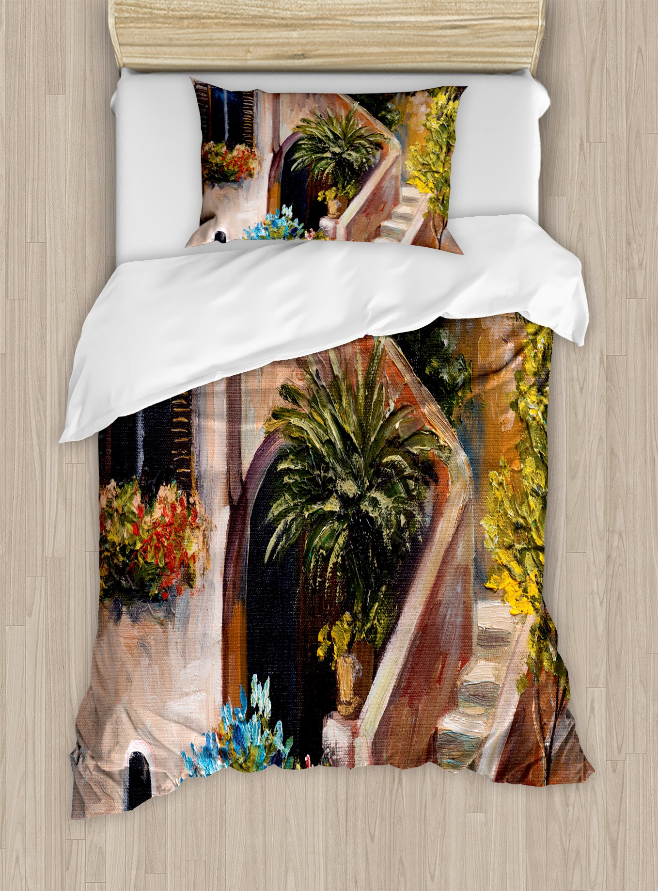 Ambesonne Rustic Duvet Cover Set Twin Size, Terrace Flowers and Garden House Greece with Rustic Window Oil Painting, Decorative 2 Piece Bedding Set with 1 Pillow Sham, Green Brown and Peach