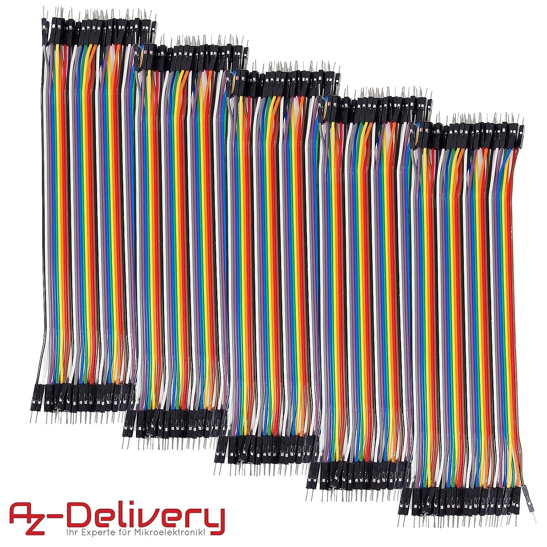 AZDelivery ???? 20 cm 5 x 40 morceaux 200pcs C/âbles DuPont 3 en 1 Multicolore Fil Dupont Wire Jumper Wire Cavalier C/âble F2M pour Arduino