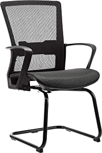 AmazonBasics Mid-Back Guest/Reception Chair, with Contoured Mesh Seat - Black