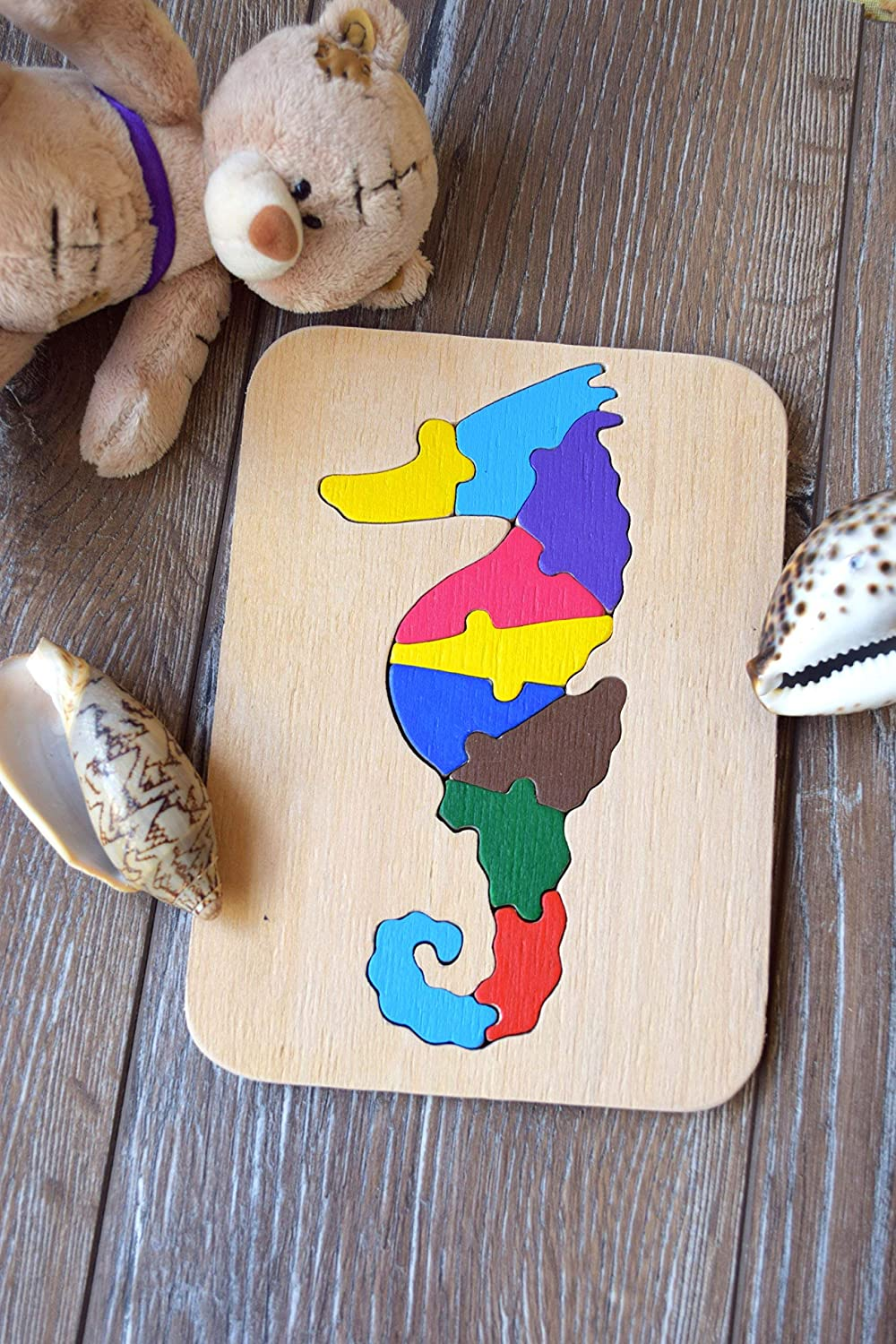 Seahorse wood puzzle Baby toy special needs