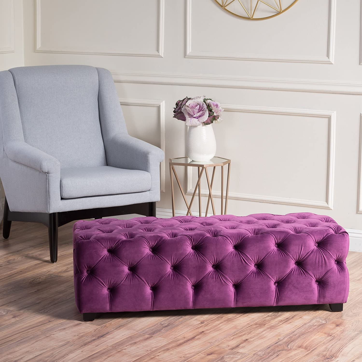 Christopher Knight Home 298422 Provence Purple Tufted Velvet Fabric Rectangle Ottoman Bench