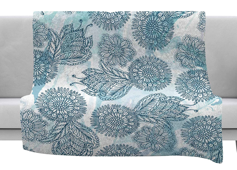 Kess InHouse Julia Grifol Garden Blue Floral Vector Throw 80 x 60 Fleece Blanket