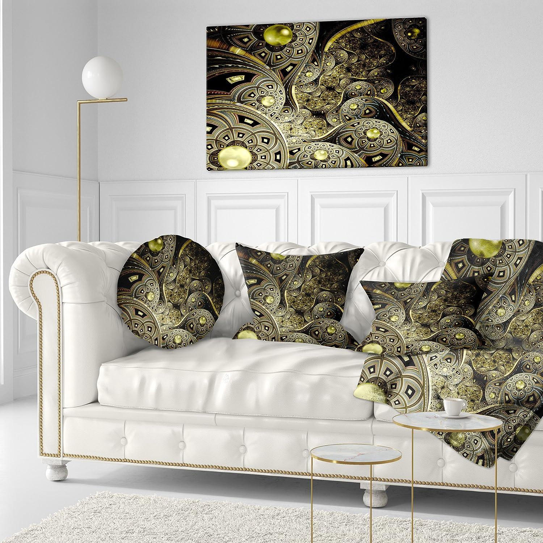 Sofa Throw Pillow 16 Designart CU7255-16-16-C Symmetrical Gold Fractal Flower Floral Round Cushion Cover for Living Room