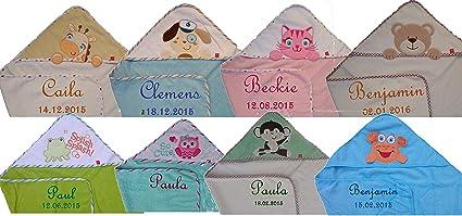 Café con diseño de bebé toalla con capucha con nombre bordados 75 x 75 cm con