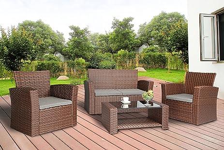 Baner Garden (N87 BR) 4 Pieces Conversational Outdoor Furniture Complete  Patio Cushion Wicker
