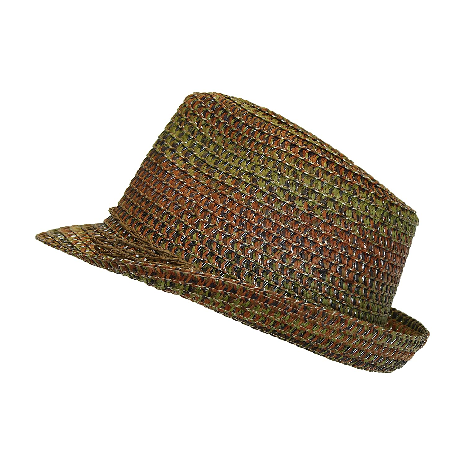 df000172a Boho Festival Straw Fedora Sun Hat in Olive, Brown and Rust Earth Tones,  One Size