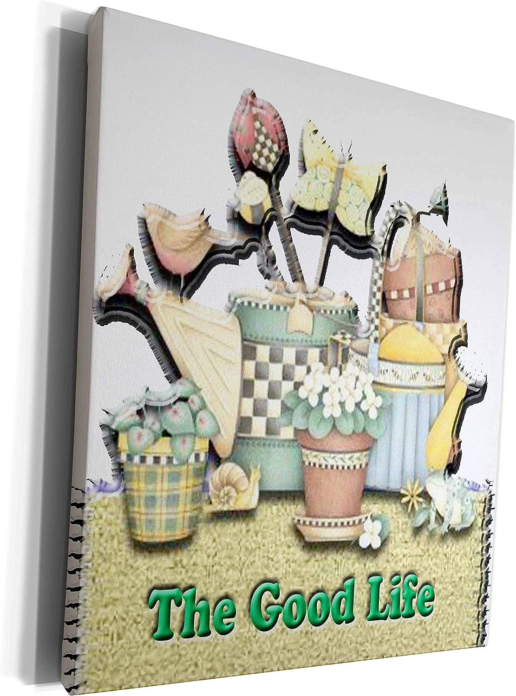3dRose Spiritual Awakenings Garden - Garden tools, flower watering can, flower pots, checkered patterns for the good life - Museum Grade Canvas Wrap (cw_128821_1)