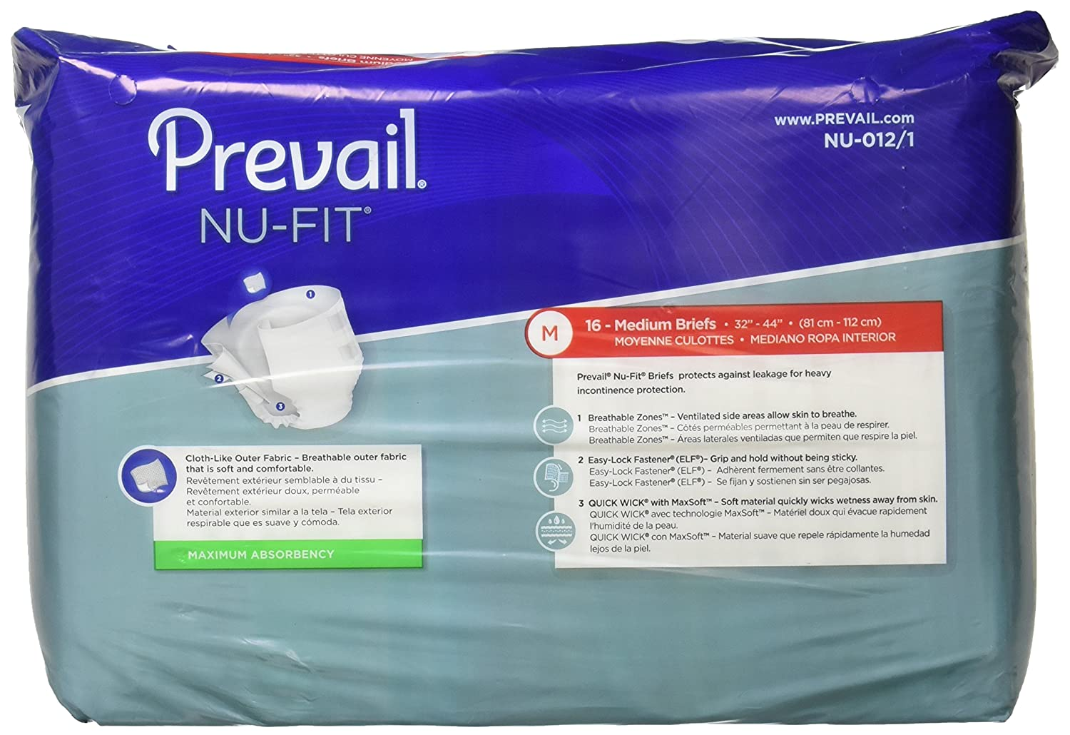 Amazon.com: Prevail Nu-Fit Adult Diapers, Medium, 16 Count: Health & Personal Care