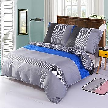 Decmay Bettwäsche 3 Teilig Bettbezug 200x200cm Kissenbezüg 80x80cm