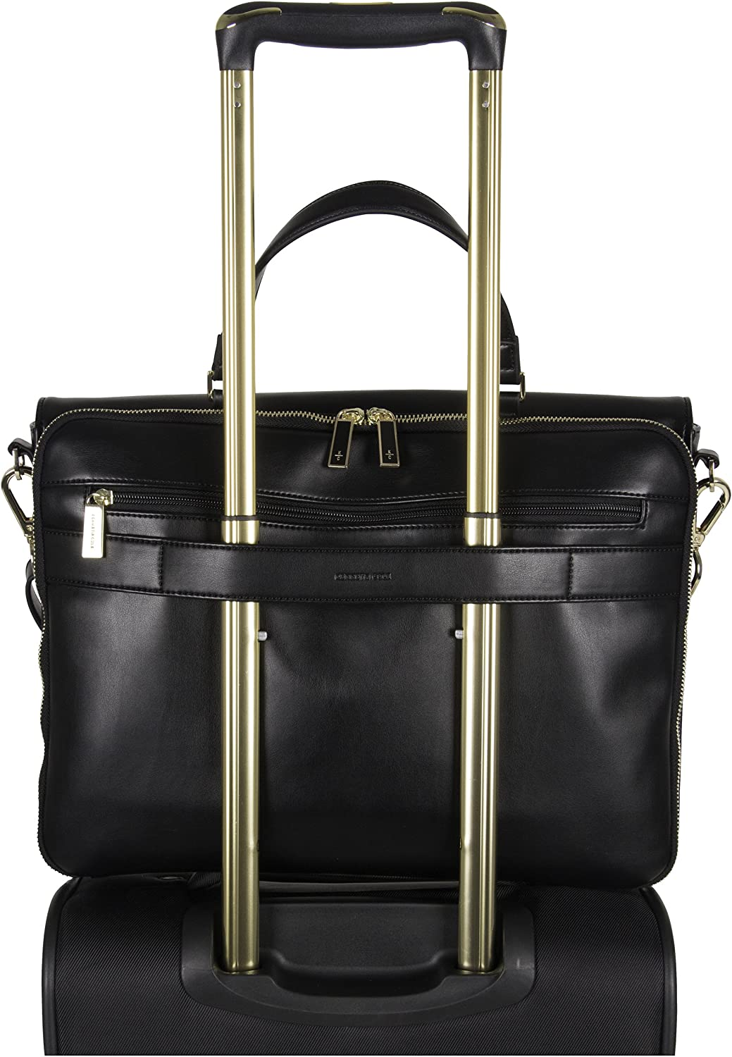 Black Kenneth Cole Reaction Womens East Bay Babe Faux Leather Dual Compartment 15 Laptop Business Tote