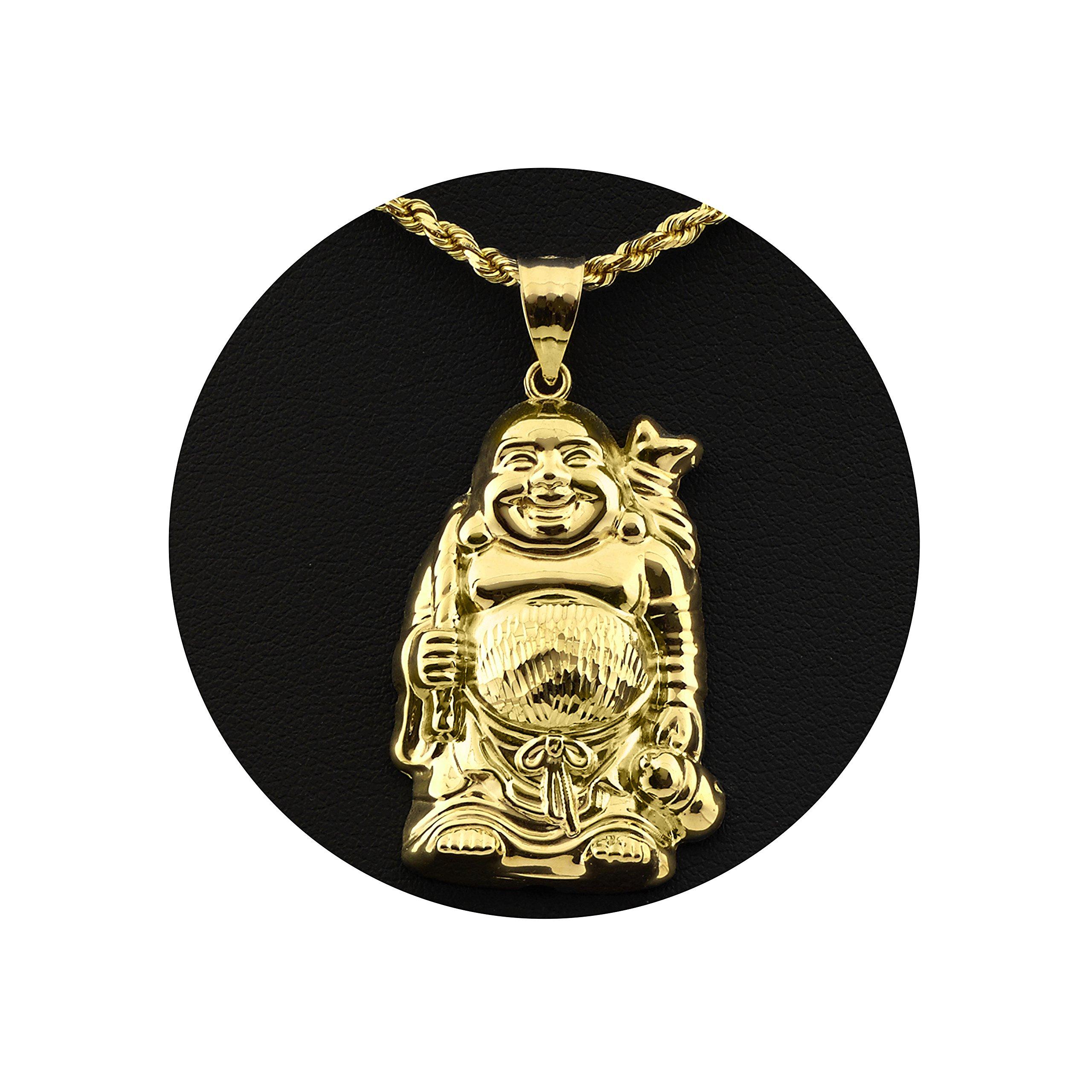 LoveBling 10K Yellow Gold Happy Buddha Diamond Cut Charm Pendant (1.77'' x 0.95'')