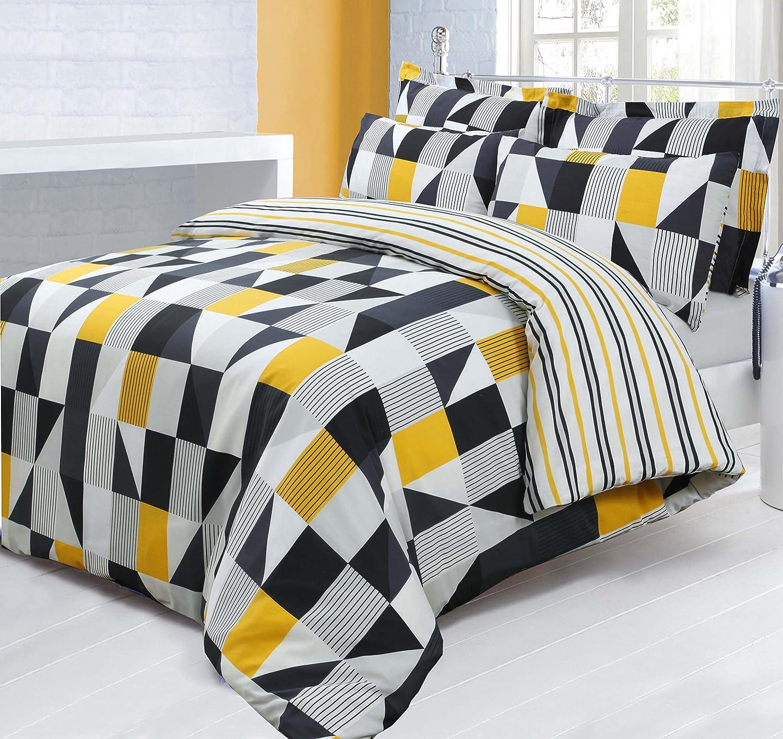cover yellow quilt duvet grey modern set navy bright itm bedding geometric blue sentinel