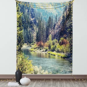 Ambesonne Landscape Tapestry, Scenic Mountain with Pine Trees and Flowing River Colorful Foliage Daytime Nature, Wall Hanging for Bedroom Living Room Dorm Decor, 60