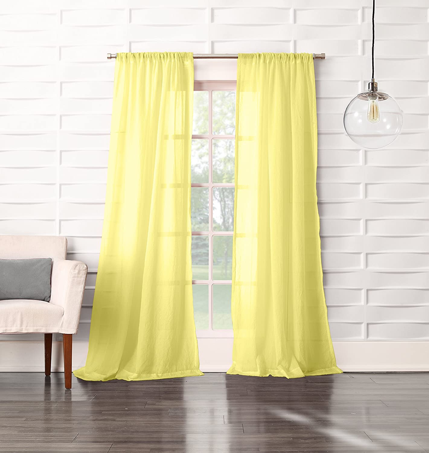 No. 918 Tayla Crushed Sheer Voile Rod Pocket Curtain Citrine Yellow Panel