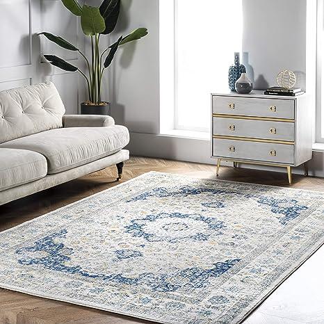 Amazon Com Nuloom Paisley Verona Vintage Persian Area Rug 8 X 10 Blue Furniture Decor